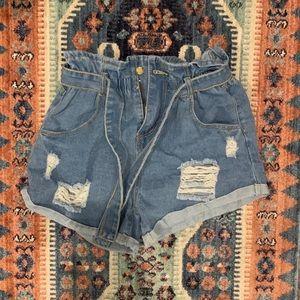 Cinched Waist Paper Bag Denim Shorts